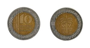Ten shekels. Ten sheqalim coin: obverse and reverse Stock Photography