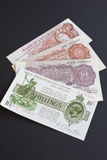Ten Shilling History. The four last versions of the British ten shilling note Stock Photo
