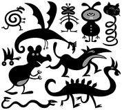 Ten silhouettes of strange critters. Stock Photo