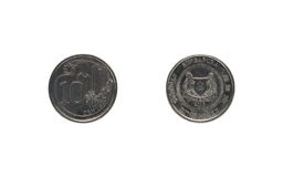 Ten Singaporean cents coin stock photo