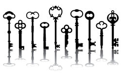 Ten Skeleton Key Icons Stock Photography