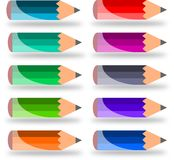 Ten small pencils Royalty Free Stock Images