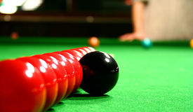 Ten snooker balls in line Stock Photography