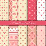 Ten spring seamless patterns with flowers, hearts and circles in gentle pink colours Stock Photo
