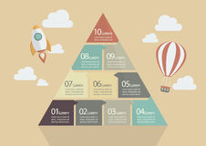 Ten Step of Pyramid Chart Infographic Stock Photo