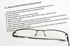 Ten steps to better written communications Stock Images