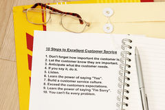 Ten steps to excellent customer service. Concept- many uses for seminar, training and workshop for company advancement Stock Images