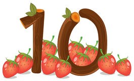 Ten strawberries. Illustration of the ten strawberries on a white background Stock Photography