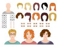 Ten styles of fashion female avatars Royalty Free Stock Images