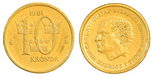 ten swedish Kronor coin Royalty Free Stock Photography