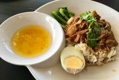 Ten thaifood ryż z wieprzowiną wyśmienicie Zdjęcia Royalty Free