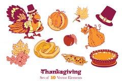 Ten Thanksgiving Design Elements. Turkey pumpkin. 10 Thanksgiving Design Elements. Cornucopia of turkey pumpkin grapes pie and more. Graphic design Stock Image