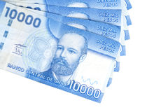 Ten Thousand Chilean Peso Bills Closeup Stock Photo