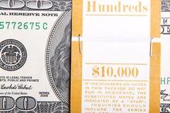 Ten Thousand Dollar Bankroll. American $100 dollar bill close up background Royalty Free Stock Images