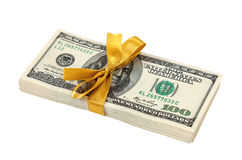 Ten Thousand Dollar Piles of One Hundred Dollar Bills Stock Image