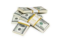Ten thousand dollar stacks. On the white Royalty Free Stock Photos