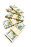 Ten thousand dollar stacks. On the white Stock Photo