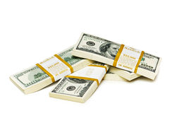 Ten thousand dollar stacks Stock Photos