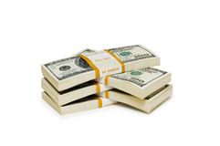 Ten thousand dollar stacks Royalty Free Stock Image