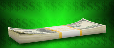 Ten thousand dollar stacks to horizon Royalty Free Stock Photo