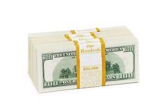 Ten thousand dollar stacks on the white Stock Images