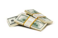 Ten thousand dollar stacks on the white Stock Image