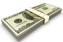 Ten Thousand Dollars. Bundle of US one hundred dollar bills royalty free illustration