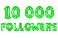 Ten thousand followers, green color Royalty Free Stock Image