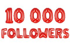 Ten thousand followers, red color Stock Image