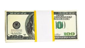 Ten thousand U.S. dollars in a bundle Royalty Free Stock Photos