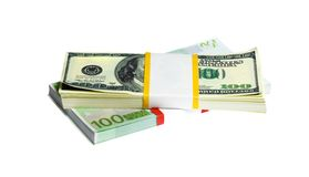 Ten thousand U.S. dollars and EURO in a bundle Royalty Free Stock Images