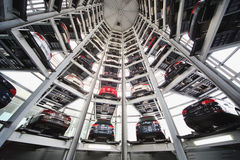 Ten tier automated system for presentation and storage of cars Stock Images