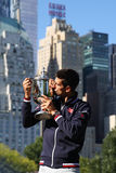 Ten times Grand Slam champion Novak Djokovic posing in Central Park with championship trophy Royalty Free Stock Images
