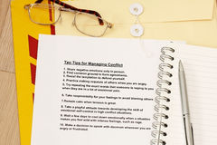 Ten tips for managing conflicts. Concept - many uses for training, seminar and company workshop stock photo