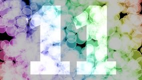 Ten to eleven years birthday fade in/out animation with color gradient moving bokeh background.