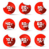 Ten to Ninety Percent Off Red Labels Royalty Free Stock Images