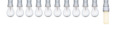 ten to one light bulbs Royalty Free Stock Images