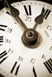 Ten to twelve on a old clock face Royalty Free Stock Photography
