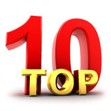 Ten top. Top ten the best (isolated, done in 3d Royalty Free Stock Photography