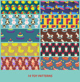 Ten toy patterns Royalty Free Stock Photography