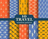 Ten travel seamless patterns Stock Photos
