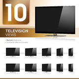 Ten TV Views - Realistic. Vector - Ten TV Views - Realistic Royalty Free Stock Images