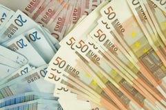 Ten twenty and fifty euros bills Royalty Free Stock Photos