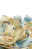 Ten twenty and fifty euros bills Royalty Free Stock Photography