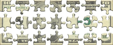Ten USA dollar puzzle Stock Photos