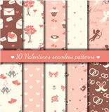 Ten valentine's seamless patterns Stock Image