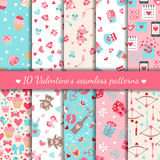 Ten valentines day seamless patterns. Vector illustration Royalty Free Stock Photos