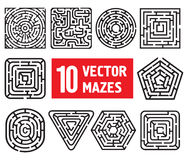 Ten vector mazes. 10 vector mazes. Different black and white shapes stock illustration