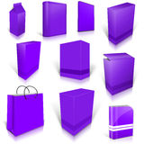 Ten violet blank boxes isolated on white Stock Photos