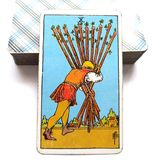 10 Ten of Wands Tarot Card Home-Stretch Nearly There Keep Your Head Down and Keep Going One Final Push Success is almost Yours. Home-Stretch Nearly There Keep royalty free illustration